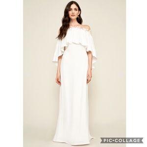 Tadashi Shoji Illusion Neckline Cape Dress